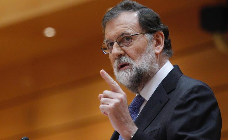 Rajoy durante su intervención en el Senado