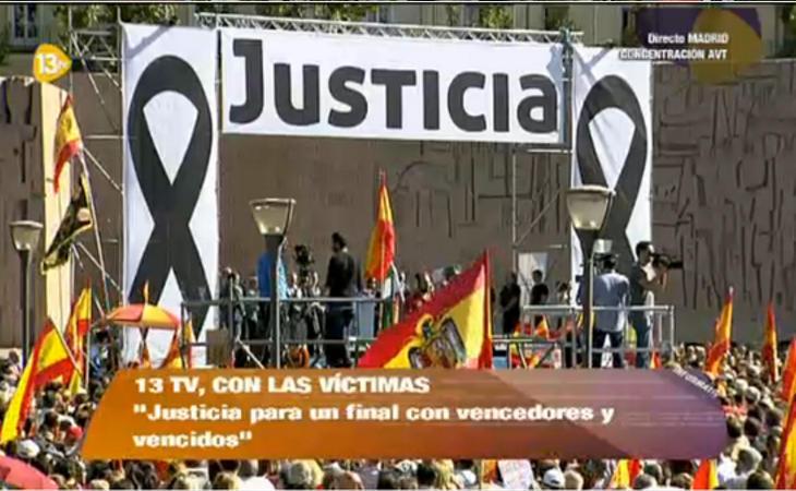 Impunidad ante una bandera franquista en 13TV, de un acto de la AVT