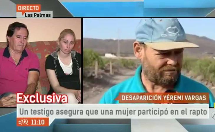 El Rubio dando una entrevista en Antena 3 afirmando que había sido testigo del rapto del menor