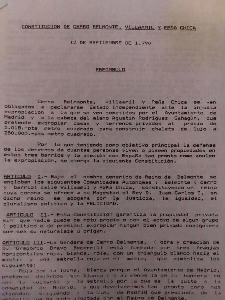 La Constitución que Cerro Belmonte realizó en para protestar contra el Ayuntamiento