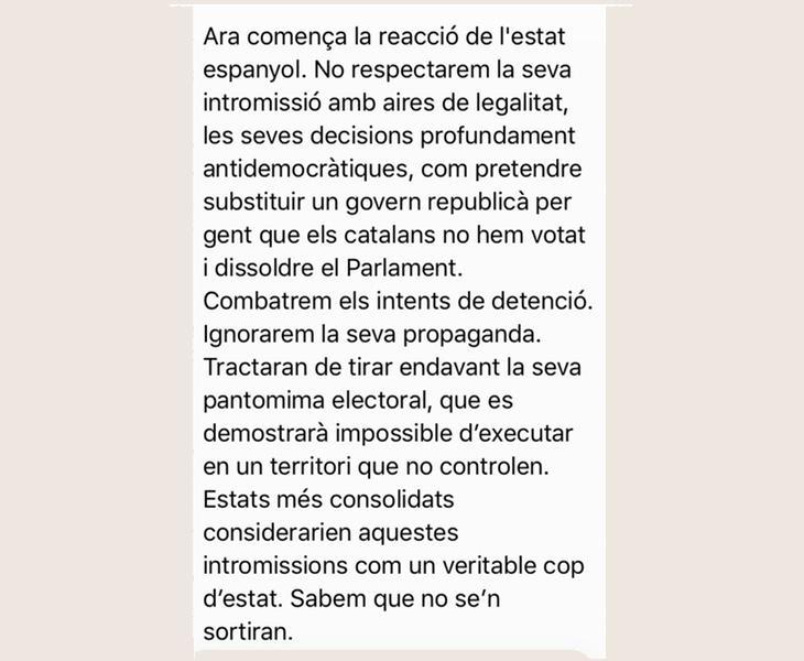 Fragmento de los WhatsApp enviados a los regidores independentistas