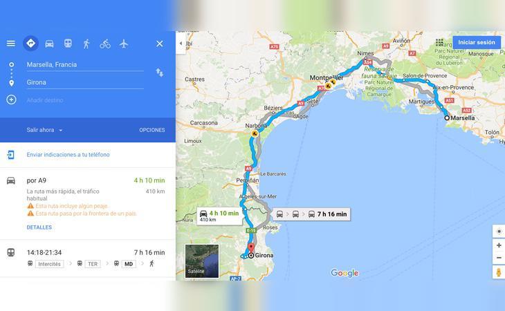 Ruta desde Girona a Marsella