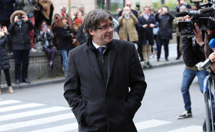 Puigdemont a su llegado al Press Club de Bruselas
