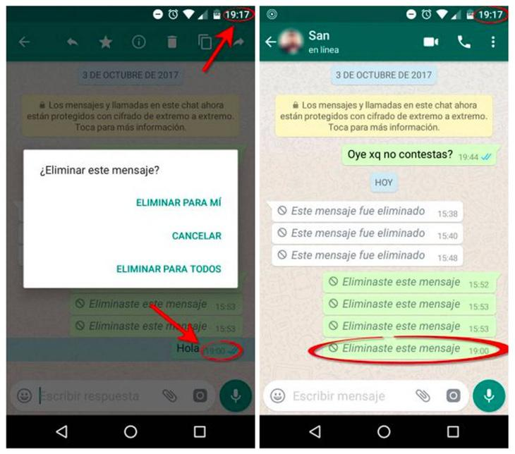 Ejemplo de cómo eliminar el mensaje en whatsapp