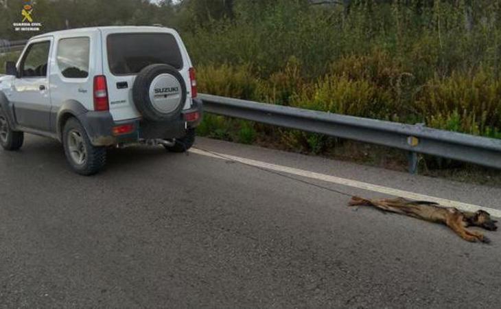 Imagen tomada por la Guardia Civil del coche arrastrando al cachorro