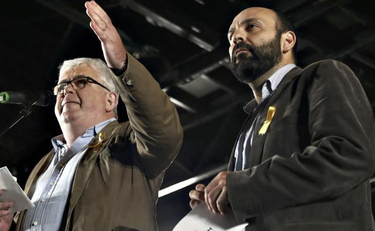 El vicepresidente de la ANC, Agustí Alcoberro, y el portavoz de Òmnium Cultural, Marcel Mauri