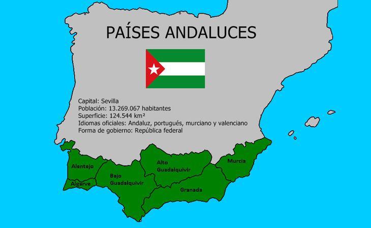 Mapa que recoje las reivindicaciones del independentismo andaluz