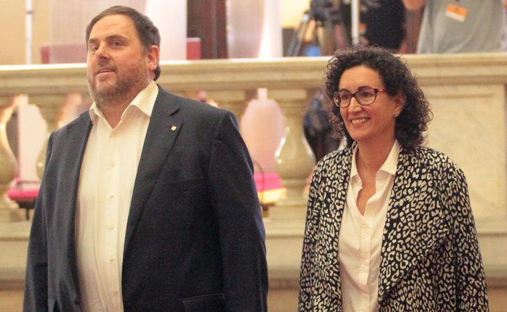 Oriol Junqueras y Marta Rovira en el Palacio de la Generalitat