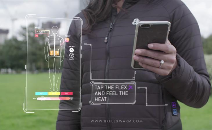 Todas las funciones de esta prenda pueden regularse a través del móvil