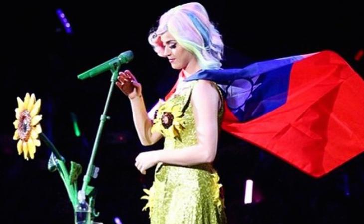 Katy Perry ofendió a China por lucir girasoles y la bandera de Taiwán en uno de sus conciertos