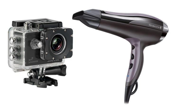Videocámara deportiva y secador de pelo a gran precio