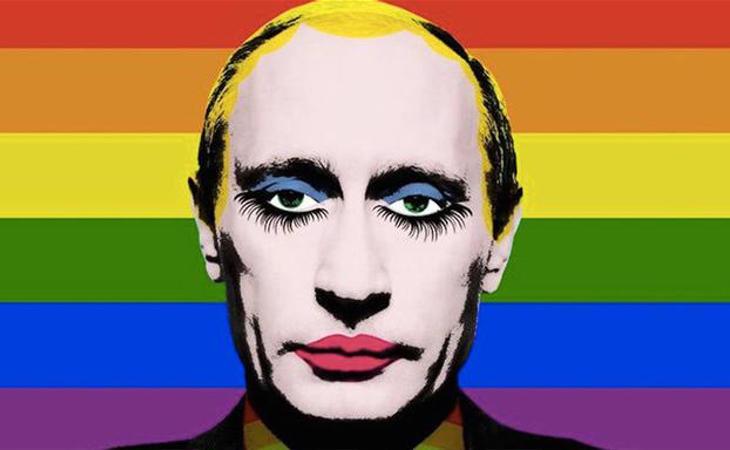 Putin ha prohibido cualquier tipo de propaganda homosexual, en especial una foto que se hizo viral de su cara maquillada sobre la bandera LGTBI