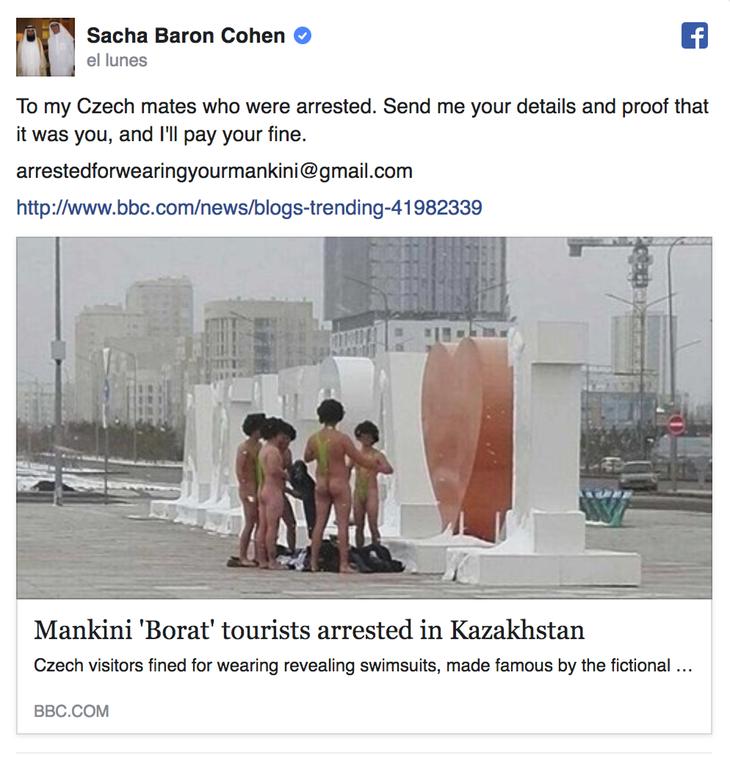 La publicación de Facebook en que Sasha ofrece asumir el dinero de la multa