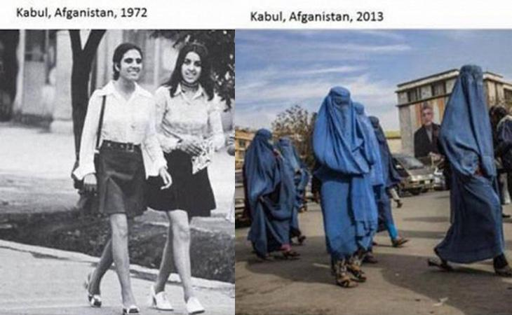 Mujeres afganas antes y después de la radicalización