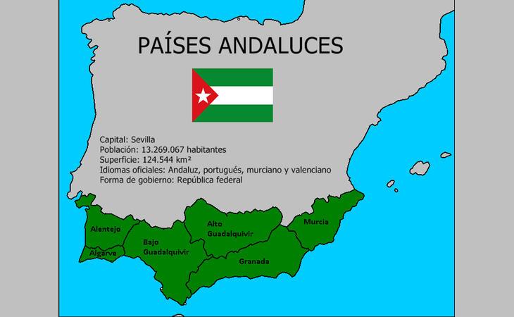 Así quedarían conformados los Países Andaluces (virtuales)