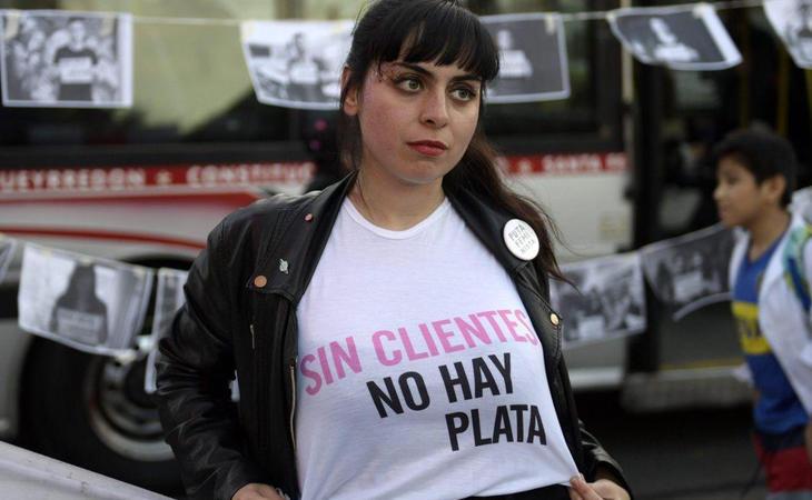 María Riot en una manifestación por los derechos de las prostitutas