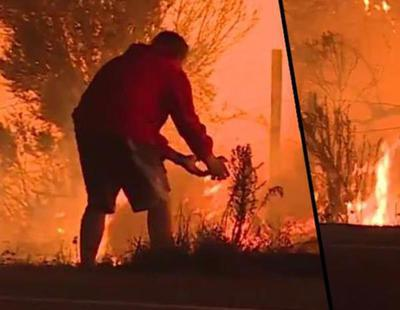 Un hombre arriesga su vida para salvar a un conejo de las llamas