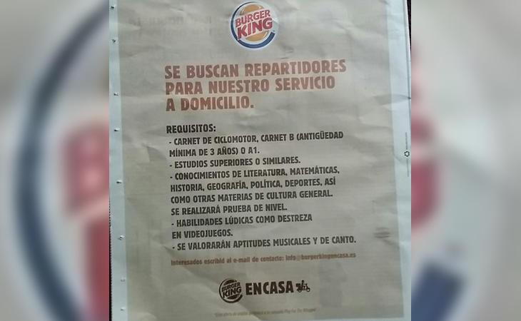 La última campaña publicitaria viral de Burger King