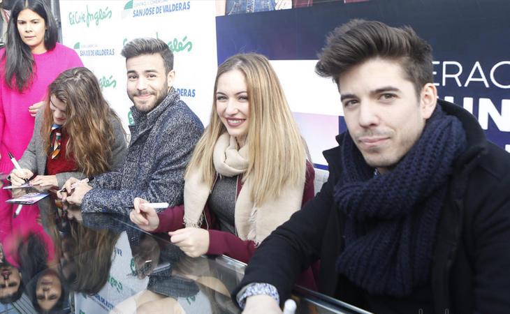 Amaia, Agoney, Mireya y Roi durante la firma de discos en Madrid