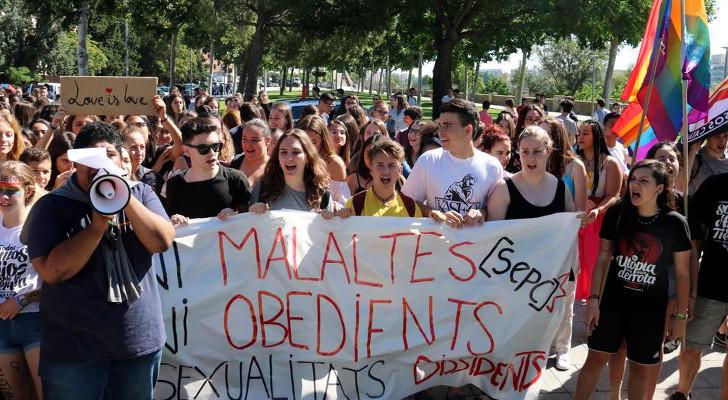 Alumnos del instituto se concentraron en protesta