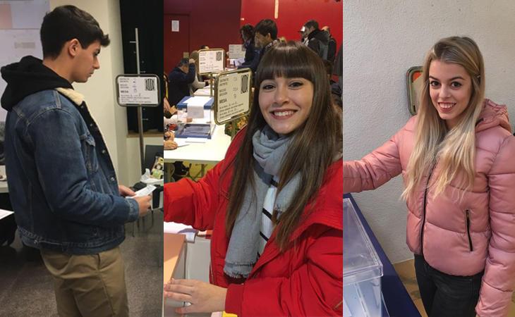Alfred, Aitana y Nerea, los concursantes catalanes de #OTDirecto21D han acudido a votar en las #EleccionesCataluña