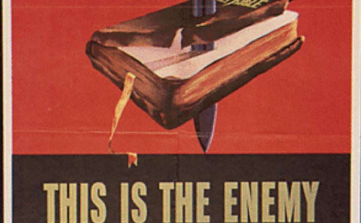 La Biblia es el enemigo. Un ejemplo de cartel propagandístico nazi