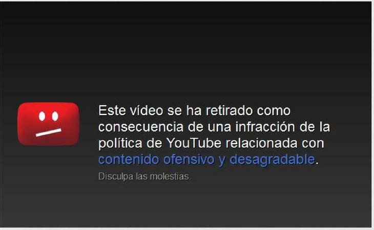 Notificación de un vídeo retirado de YouTube por inflingir normas