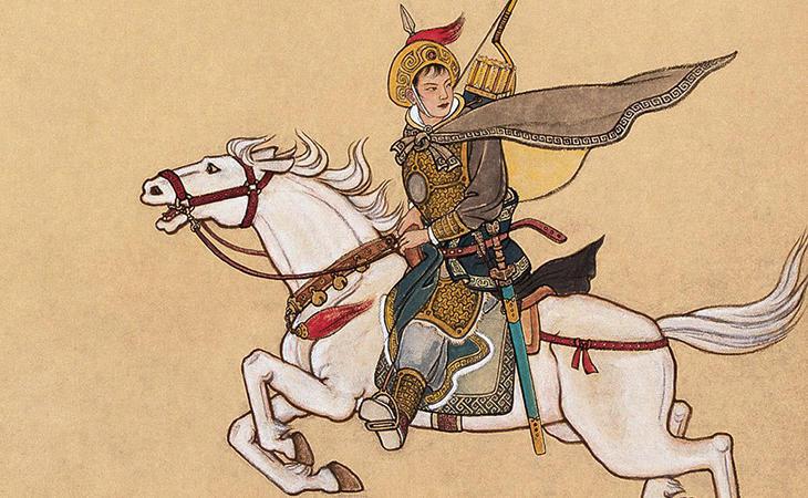 Representación de Hua Mulán en la batalla