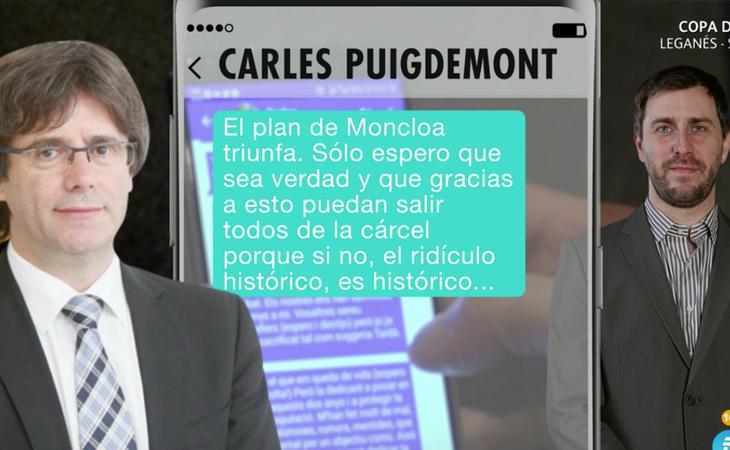 Los mensajes entre Puigdemont y Toni Comín