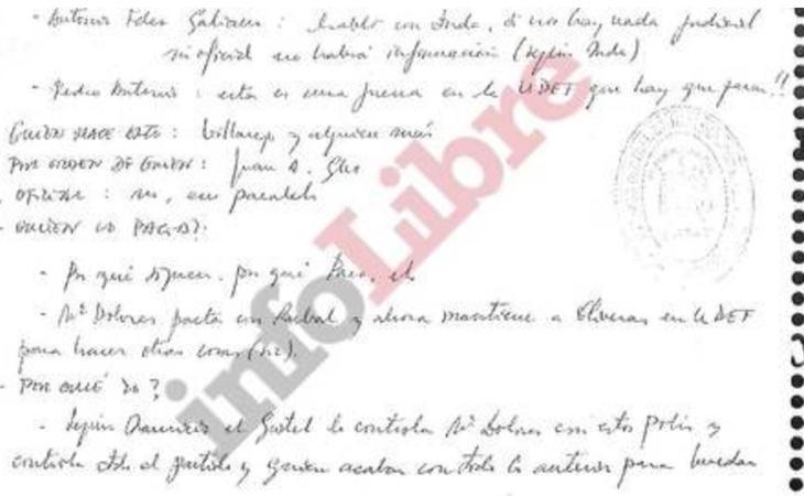 Fragmento del manuscrito de Ignacio González | Fuente: Infolibre
