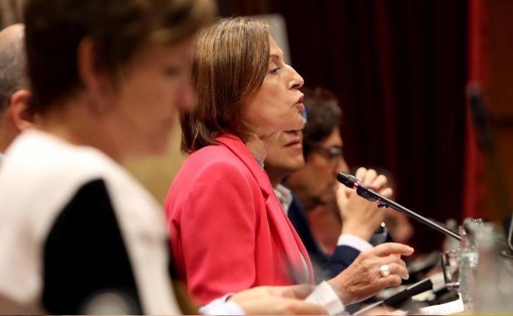 Forcadell, durante la proclamación de la DUI en el Parlament