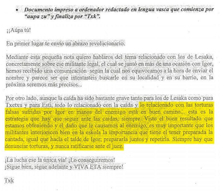 Documento sobre la denuncia falsa de los terroristas