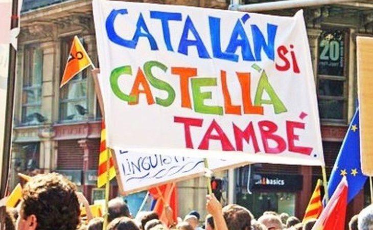 Manifestación a favor de la pluralidad lingüísticaen la enseñanza catalana