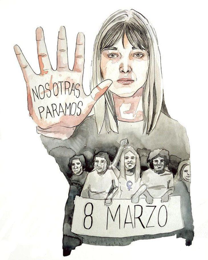 Ilustración para la huelga del 8M