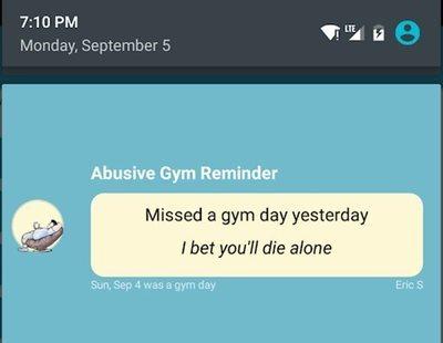 Lanzan una app que te insulta si no vas al gimnasio