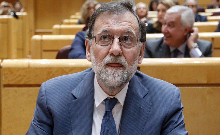 Rajoy durante la sesión de control del Gobierno en el Senado