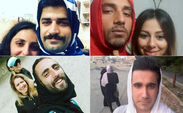 Mujeres y hombes de Irán protestando por el uso del velo