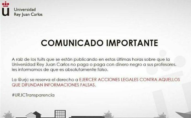 La URJC negó las acusaciones a través de un comunicado
