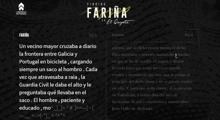 La herramienta digital extrae de 'El Quijote' las palabras que conforman 'Fariña'
