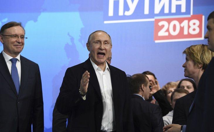 Putin celebró la victoria en compañía de su partido