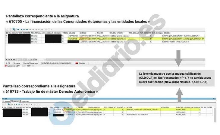 La captura de El Diario que revela el cambio en las calificaciones