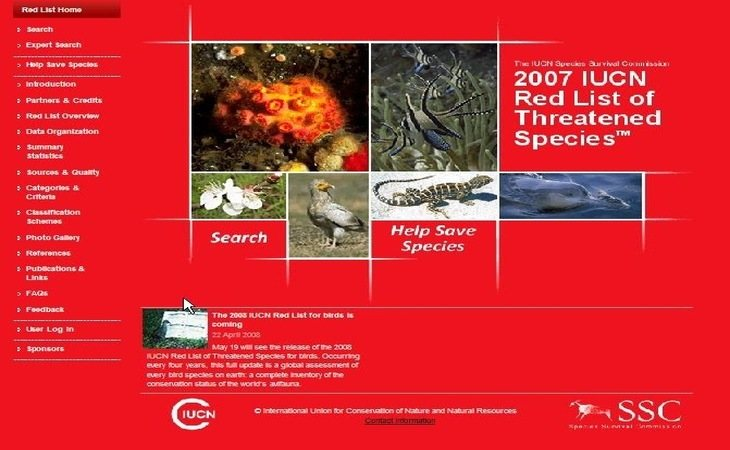 Portada de la Lista Roja en 2007