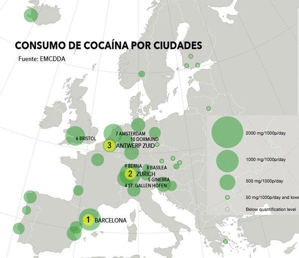 Ciudades con más consumo de cocaína