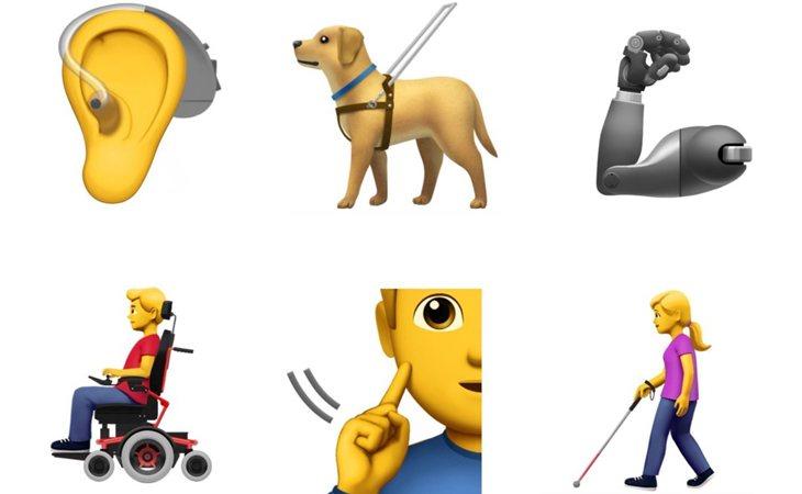 Algunos de los emojis por la diversidad funcional