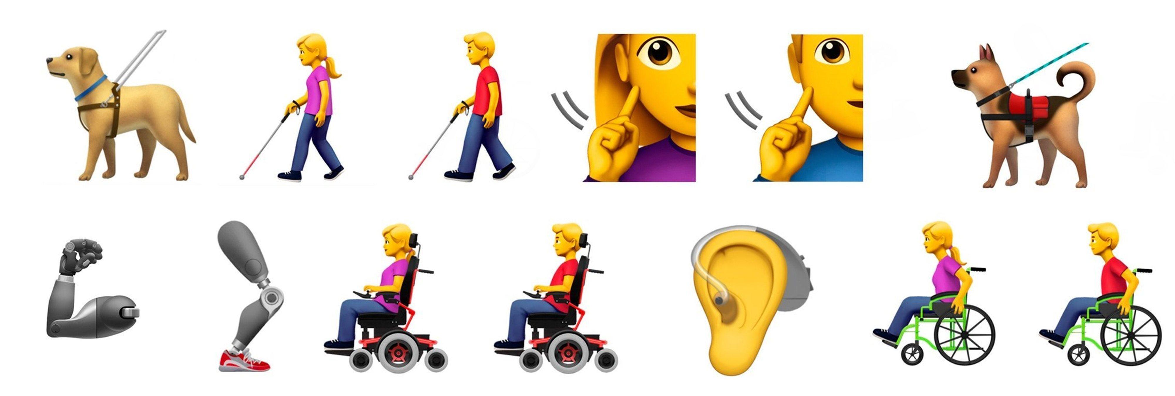 Apple propone 13 nuevos emojis para incluir a personas con discapacidad
