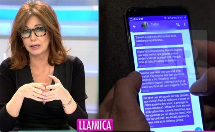 'El programa de Ana Rosa' emitió los mensajes de Puigdemont a Comín