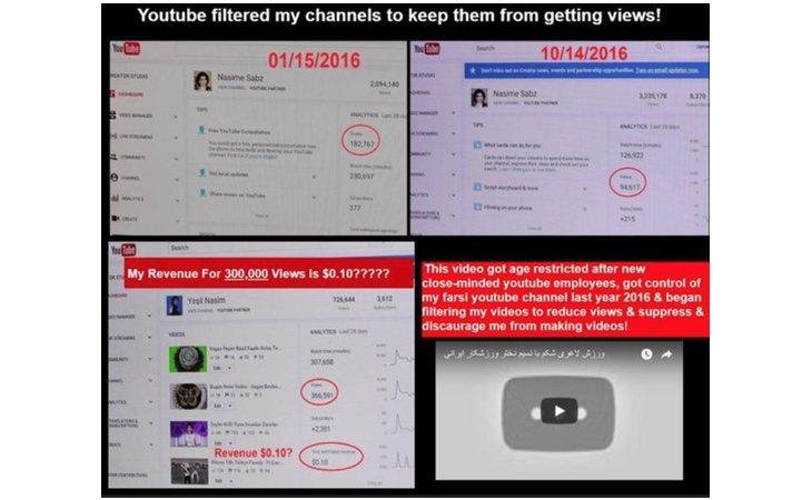 Muestra de cómo YouTube dismiuía las visitas del canal de Nasim