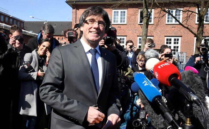 Carles Puigdemont a su salida de la cárcel en Alemania. /Foto: Gtres