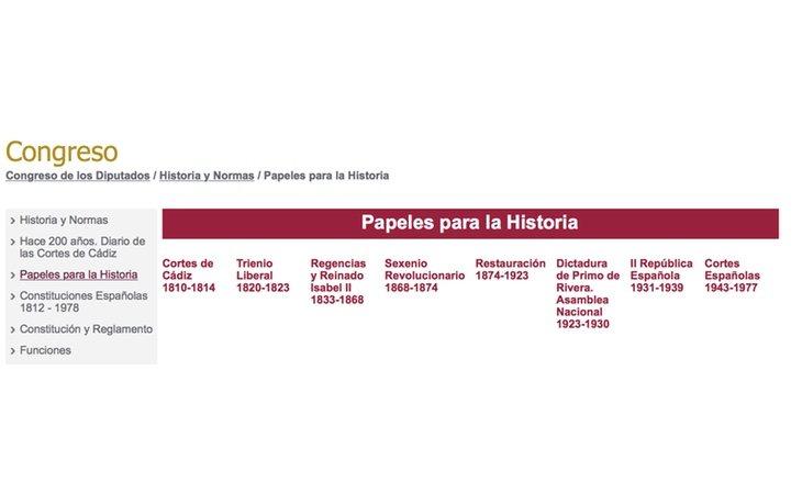 La dictadura de Franco, rebautizada como 'Cortes Españolas' en la web