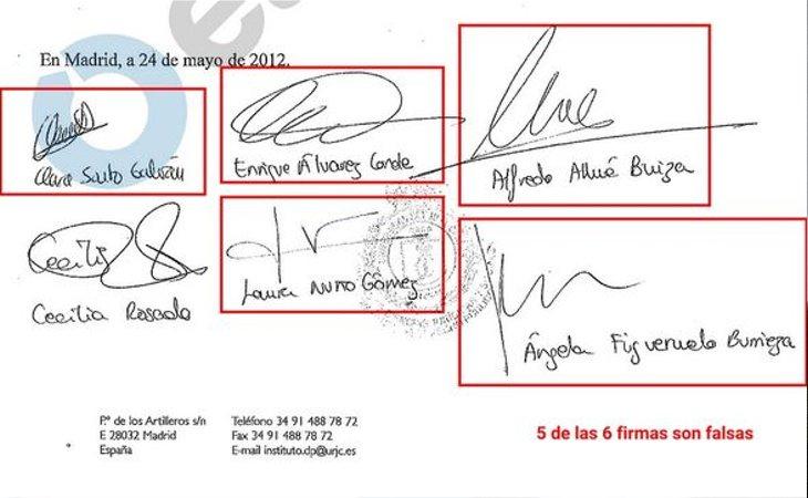 Acta de las convalidaciones con las firmas falsificadas a la que ha tenido acceso El Diario